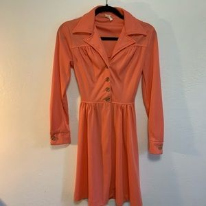 70's 80's Coral Dress Tapered Collar Skater Skirt